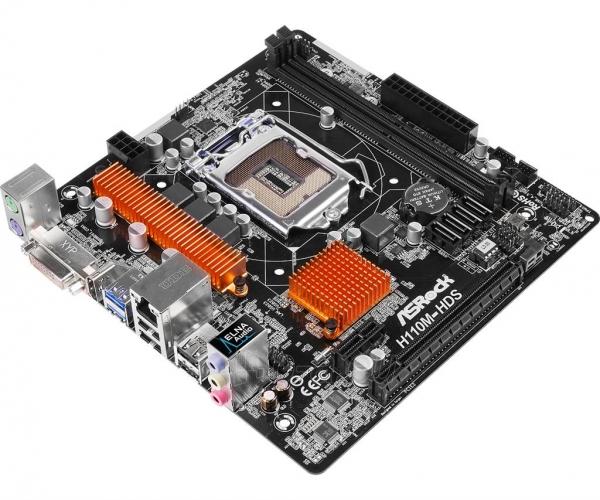 Pagrindinė plokštė ASRock H110M-HDS, H110, DualDDR4-2133, SATA3, HDMI, DVI, mATX Paveikslėlis 3 iš 5 310820017445