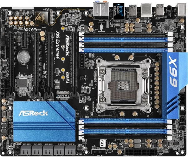 Pagrindinė plokštė ASRock X99 Extreme4, X99, QuadDDR4-2133, SATA3, eSATA, RAID, USB 3.0, ATX Paveikslėlis 2 iš 5 310820017336
