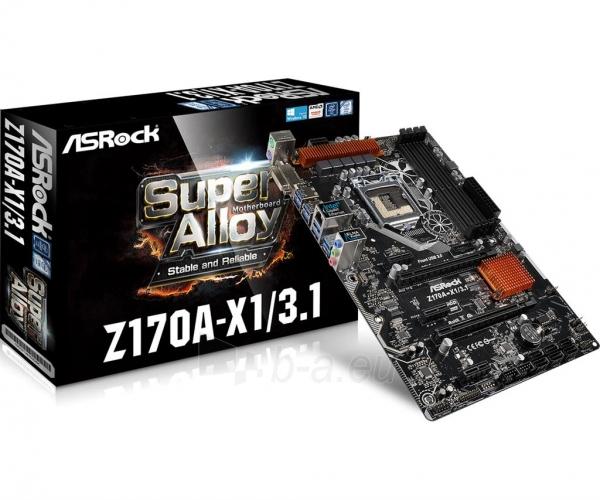 Pagrindinė plokštė ASRock Z170A-X1/3.1, Z170, DualDDR4-2133, SATA3, RAID, DVI, USB 3.1, ATX Paveikslėlis 1 iš 5 310820017446