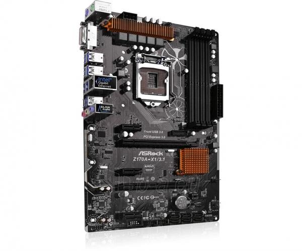 Pagrindinė plokštė ASRock Z170A-X1/3.1, Z170, DualDDR4-2133, SATA3, RAID, DVI, USB 3.1, ATX Paveikslėlis 4 iš 5 310820017446