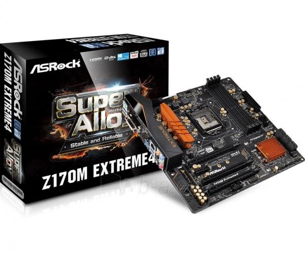 Pagrindinė plokštė ASRock Z170M EXTREME4, Z170, DualDDR4-2133, SATA3, M.2, HDMI, DVI, mATX Paveikslėlis 1 iš 5 310820017468