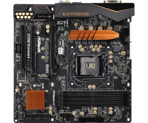 Pagrindinė plokštė ASRock Z170M EXTREME4, Z170, DualDDR4-2133, SATA3, M.2, HDMI, DVI, mATX Paveikslėlis 2 iš 5 310820017468
