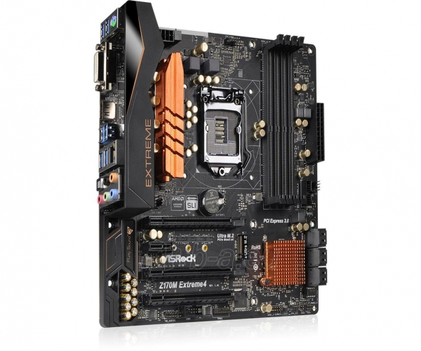 Pagrindinė plokštė ASRock Z170M EXTREME4, Z170, DualDDR4-2133, SATA3, M.2, HDMI, DVI, mATX Paveikslėlis 4 iš 5 310820017468