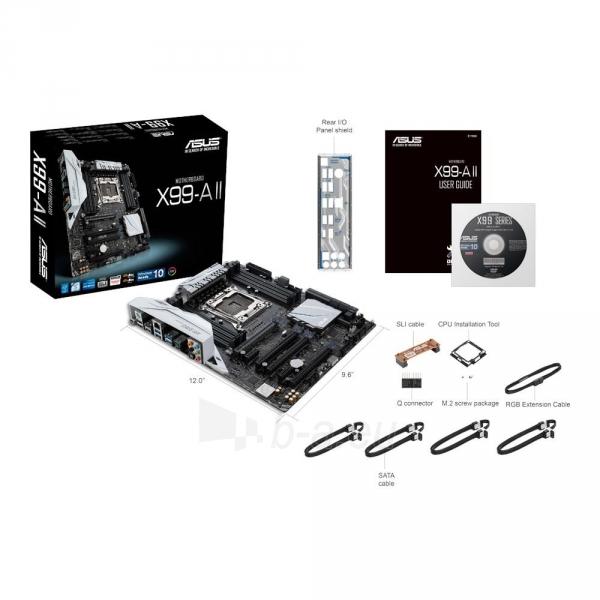 Pagrindinė plokštė ASUS X99-A II, X99, QuadDDR4-2133, SATAe, SATA3, M.2, USB 3.1, ATX Paveikslėlis 1 iš 3 310820024007