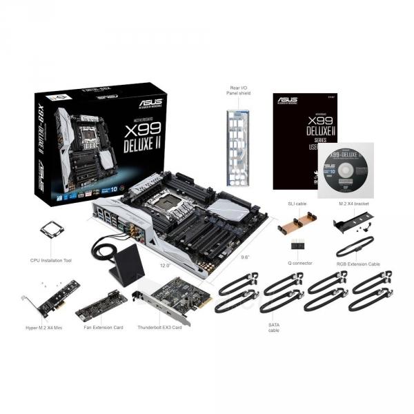 Pagrindinė plokštė ASUS X99-DELUXE II, X99, QuadDDR4-2133, SATAe, SATA3, M.2, USB 3.1, ATX Paveikslėlis 4 iš 4 310820025537