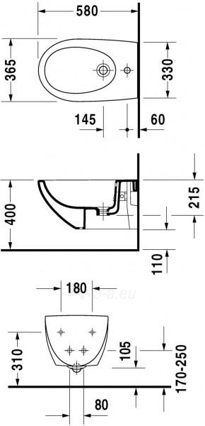 Pakabinama bidė Duravit Architec Paveikslėlis 1 iš 3 270715000092