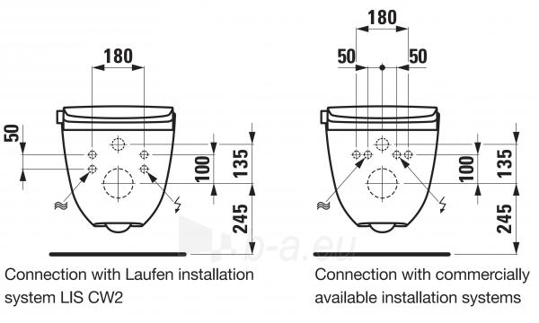 Pakabinamas unitazas CLEANET RIVA su apiplovimo fukcija, Rimless be nuplovimo lanko, LCC danga, baltas Paveikslėlis 7 iš 7 310820169783