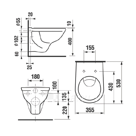 Hanging toilet Dino Paveikslėlis 1 iš 2 270713000481