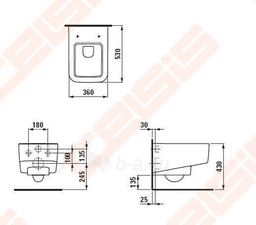 Pakabinamas unitazas LAUFEN Pro S su stačiu nubėgimu Paveikslėlis 2 iš 3 270713001099