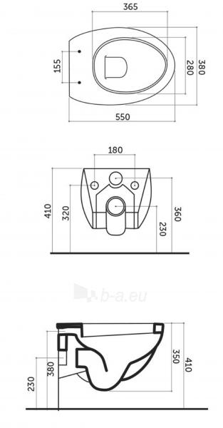 Pakabinamas unitazas OVO 38x55x36 cm, with tvirtinimais, baltas Paveikslėlis 2 iš 2 310820165631