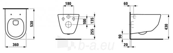 Pakabinamas unitazas Pro Rimless PACK with cover (univers. 8939563) withaut nuplovimo lanko (360 x 530 x 430 mm), baltas Paveikslėlis 3 iš 3 310820165664