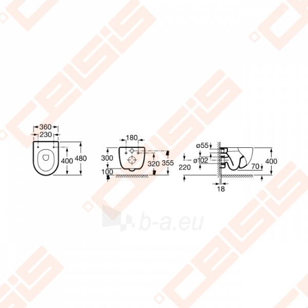 Pakabinamas unitazas ROCA Meridian Compact su stačiu nubėgimu Paveikslėlis 2 iš 3 270713001103