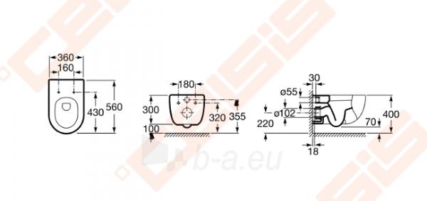 Pakabinamas unitazas ROCA Meridian su stačiu nubėgimu Paveikslėlis 2 iš 2 270713001104