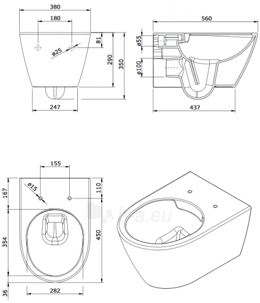Pakabinamas unitazas SANLIFE Rimflush withaut nuplovimo lanko (380x560x352mm), baltas Paveikslėlis 4 iš 4 310820165678