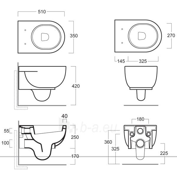 Hanging toilet Simas E-line with cover Paveikslėlis 1 iš 2 270713000483