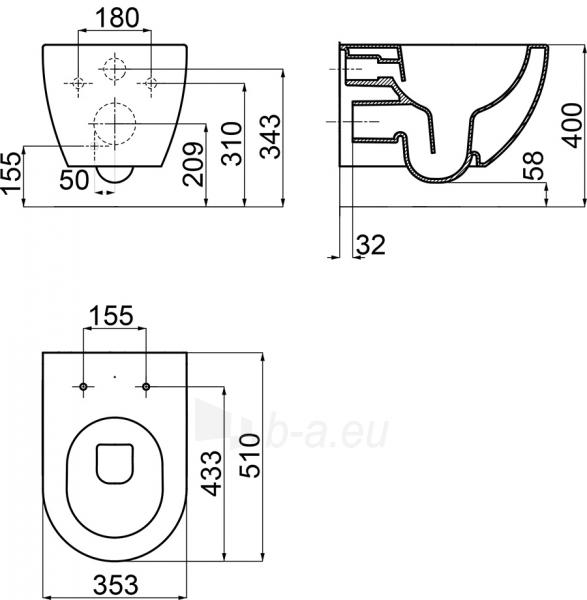 Pakabinamas WC Ravak, Uni Chrome Rimoff Paveikslėlis 3 iš 3 310820163327