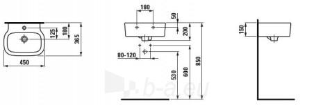 PALOMBA mažas praustuvas 45x36,5 cm, su 1 anga maišytuvui viduryje Paveikslėlis 1 iš 2 270711000507