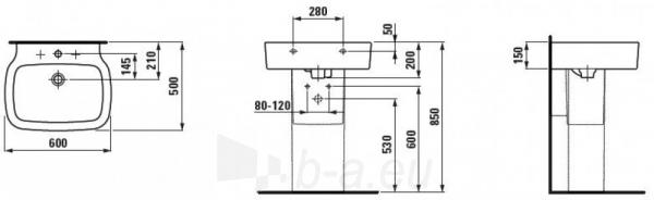 PALOMBA praustuvas 60x50 cm su 1 anga maišytuvui viduryje Paveikslėlis 1 iš 2 270711000509