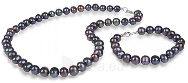 Papuošalų komplektas JwL Luxury Pearls Jewelry set of genuine blue pearls JL0370 Paveikslėlis 1 iš 4 310820126789