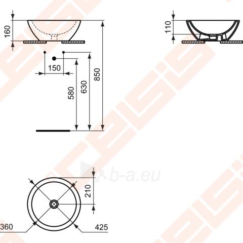 Pastatomas ovalus praustuvas IDEAL STANDARD Strada 42x42 cm Paveikslėlis 2 iš 2 270711001228