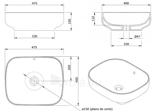 Pastatomas praustuvas SANIBOLD 480x400x150mm, baltas Paveikslėlis 4 iš 4 310820165681