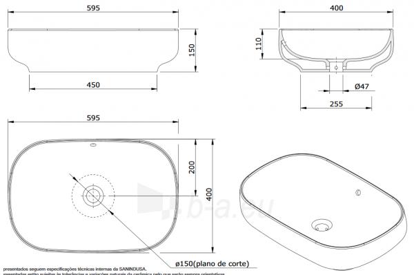 Pastatomas praustuvas SANIBOLD 600x400x150mm, baltas Paveikslėlis 4 iš 4 310820165682
