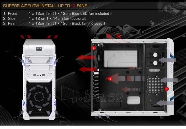 PC korpusas be PSU Aerocool GT ADVANCE WHITE, USB3.0, Beįrankinis surinkimas Paveikslėlis 3 iš 10 250255900764