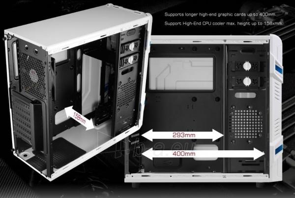 PC korpusas be PSU Aerocool GT ADVANCE WHITE, USB3.0, Beįrankinis surinkimas Paveikslėlis 2 iš 10 250255900764
