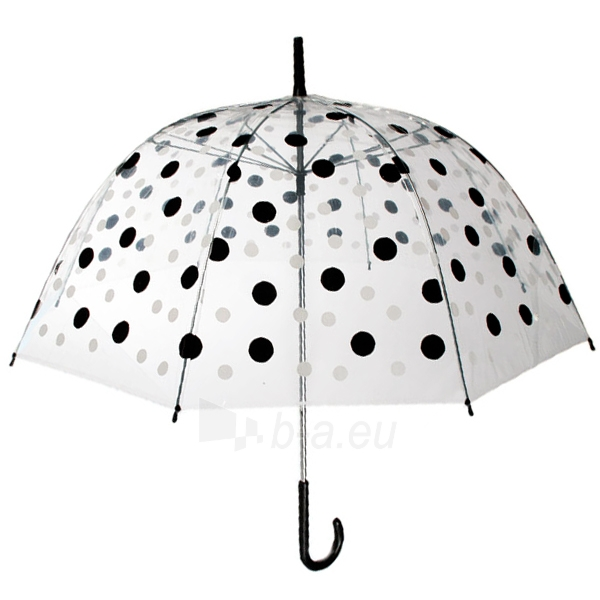 Permatomas skėtis su juodais ir baltais taškeliais Paveikslėlis 3 iš 3 251005000134
