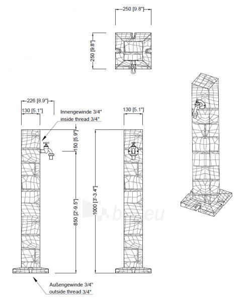 Plastikinė vandens kolonėlė, šviesaus Granito imitacija Paveikslėlis 3 iš 3 310820253531