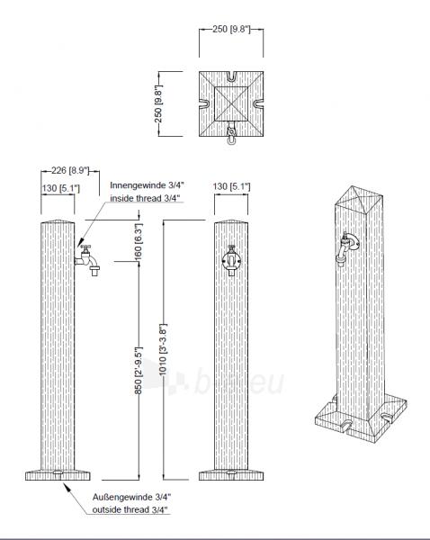 Plastikinė vandens kolonėlė Woody, šviesios medienos imitacija Paveikslėlis 3 iš 3 310820253532