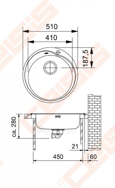Plautuvė RON610-41 be ventilio (112.006.351) Paveikslėlis 2 iš 3 270712000153