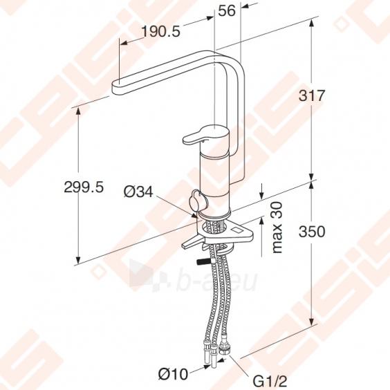 Plautuvės maišytuvas GUSTAVSBERG Nordic 3 su indaplovės ventiliu Paveikslėlis 2 iš 2 270723000582