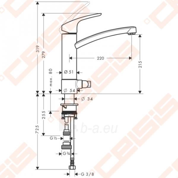 Plautuvės maišytuvas HANSGROHE Focus su ventiliu Paveikslėlis 2 iš 2 270723000589