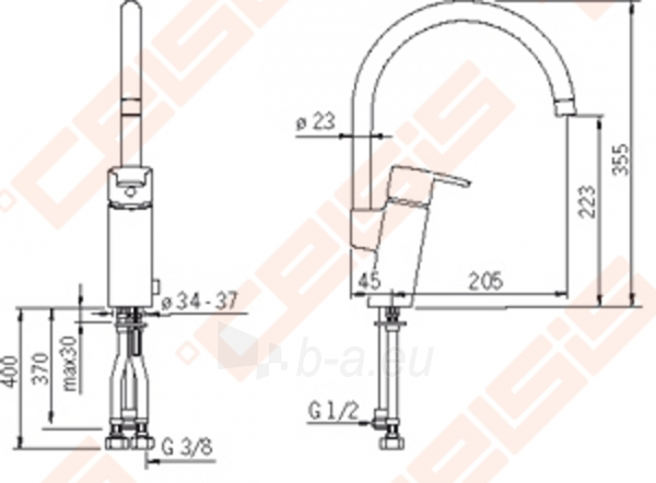 Plautuvės maišytuvas ORAS Cubista aukšta svirtimi su indaplovės ventiliu, 6 V. F – Lankstūs pajungimo vamzdeliai Paveikslėlis 2 iš 7 270723000616