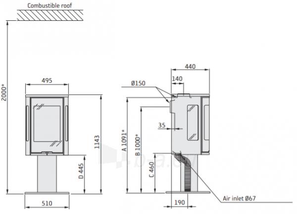 Plieninė Contura krosnelė C586:2 STYLE G, korpusas juodas su stikliniu viršum (298086,298097,803325) Paveikslėlis 2 iš 2 310820254576