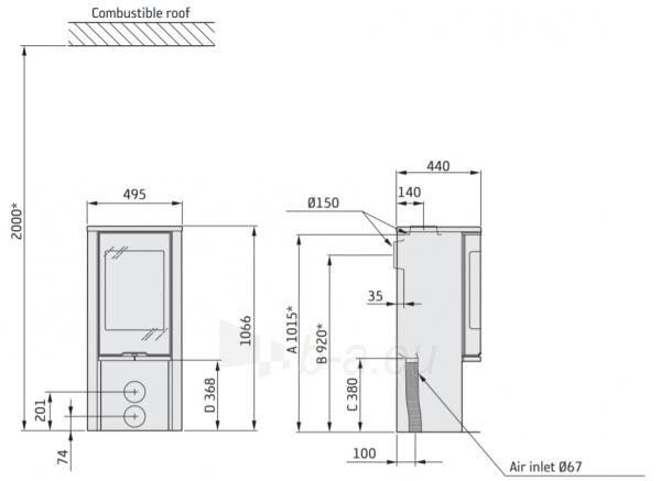 Plieninė krosnelė CONTURA 510:2 Style juoda sp. su stiklo viršum (komplektas:298072, 298097, 803325) Paveikslėlis 2 iš 3 310820254570