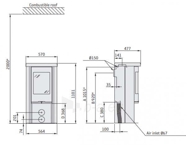 Plieninė krosnelė CONTURA C520 juodos spalvos (798980, 298098, 803749, 298560) Paveikslėlis 2 iš 2 310820254604