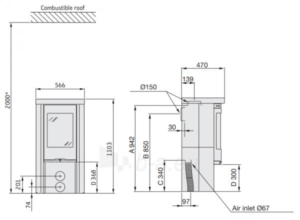 Plieninė krosnelė CONTURA C520T pilka sp.(798990, 803455) Paveikslėlis 2 iš 2 310820254571