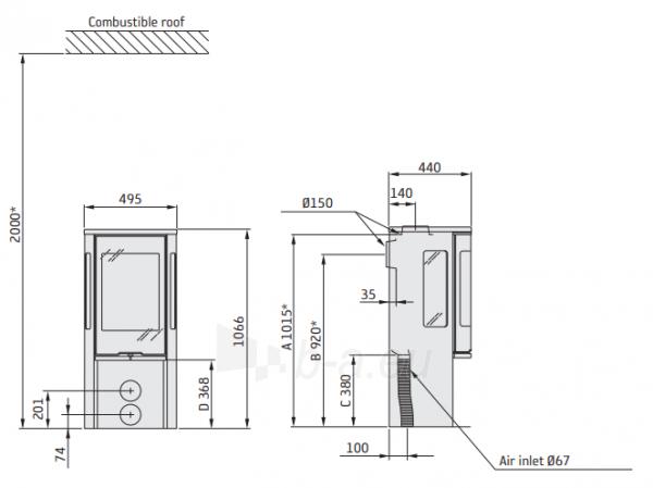 Plieninė krosnelė CONTURA C556:1 juoda sp.(kompl: 498446,898503, 898507) Paveikslėlis 2 iš 2 310820254609