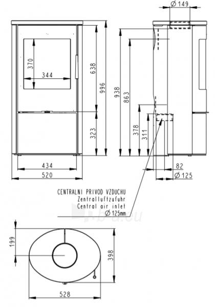 Plieninė krosnelė EVORA su akmens apdaila viršuje Paveikslėlis 2 iš 4 310820254511