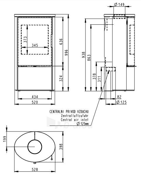 Plieninė krosnelė Romotop Laredo 04 su smėlio akmens apdaila Paveikslėlis 2 iš 2 310820254521