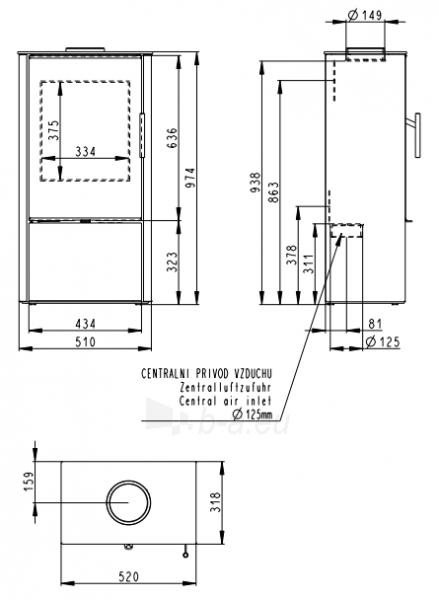 Plieninė krosnelė Romotop Laredo F 03 Paveikslėlis 2 iš 2 310820254522