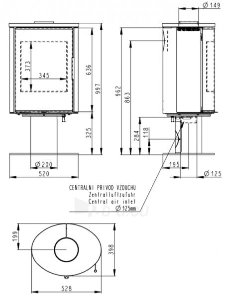 Plieninė krosnelė Romotop LAREDO T04 su smėlio akmens apdaila viršuje ir šonuose, lenktas stiklas Paveikslėlis 2 iš 2 310820254455