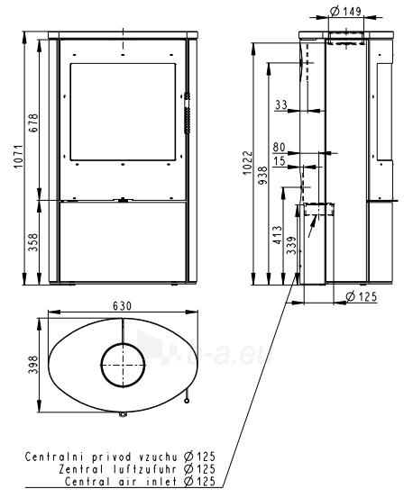 Plieninė krosnelė Romotop Ovalis 02 su muilo akmens apdaila Paveikslėlis 2 iš 2 310820254504