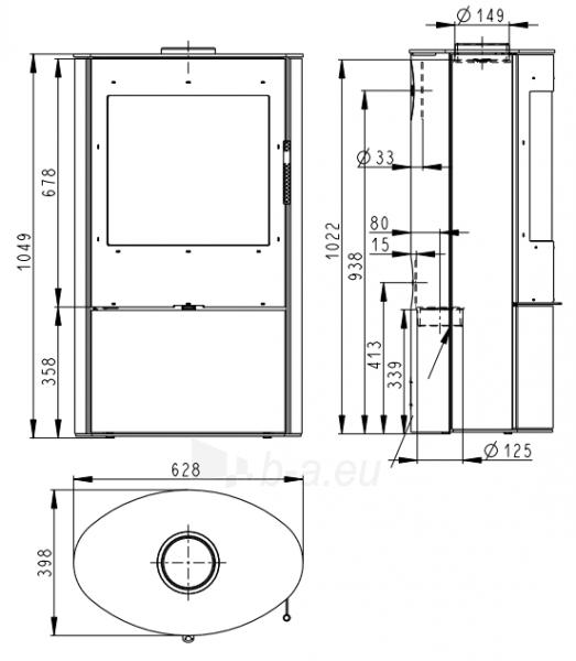Plieninė krosnelė Romotop OVALIS 03 Paveikslėlis 2 iš 3 310820254517