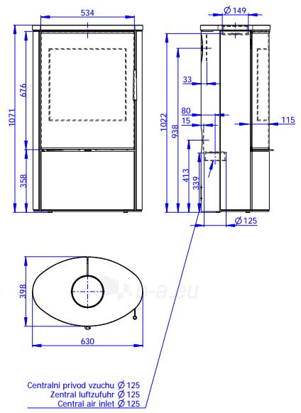 Plieninė krosnelė Romotop Ovalis G 02 su muilo akmens apdaila Paveikslėlis 2 iš 2 310820254506