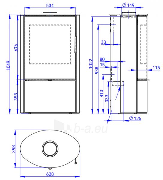 Plieninė krosnelė Romotop OVALIS G 03 Paveikslėlis 1 iš 2 310820254518