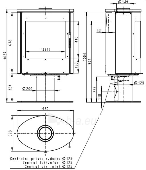 Plieninė krosnelė Romotop Ovalis T 02 su muilo akmens apdaila Paveikslėlis 2 iš 3 310820254507