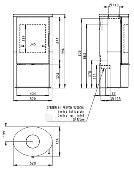 Plieninė krosnelė Romotop su pilna keramikos apdaila (sp. 95508), lenktas stiklas Paveikslėlis 2 iš 2 310820198369